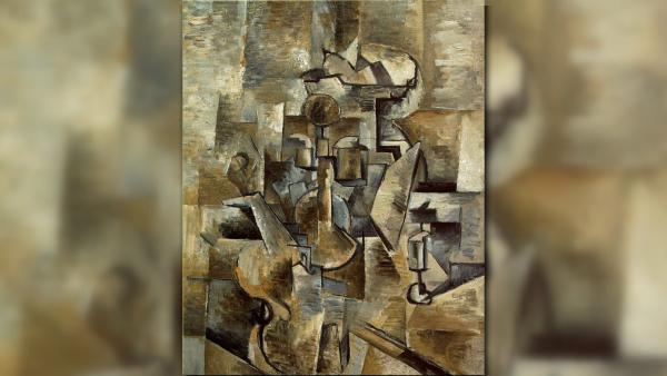 violino e candelabro - cubismo